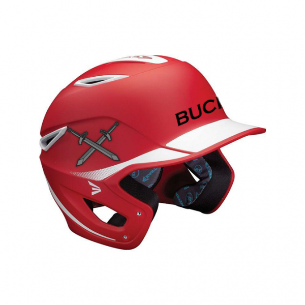 Baseball Helmet Stickers On Red Helmet