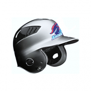 Baseball Helmet Stickers on Silver Helmet