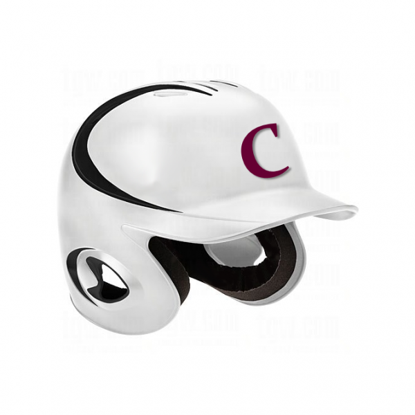 Baseball Helmet Stickers On White Helmet
