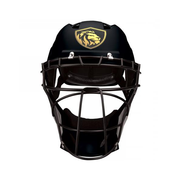 Catchers Helmet Stickers On Black Helmet