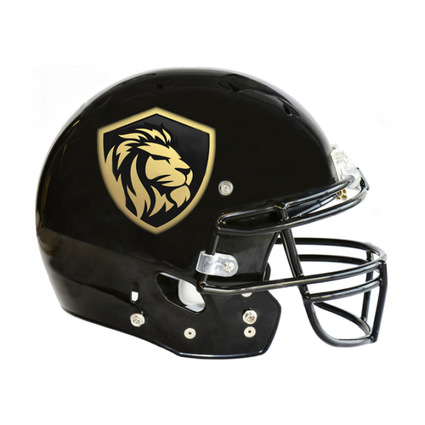 Football Helmet Stickers On Black Helmet