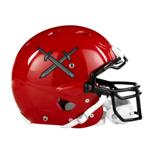 Football Helmet Stickers On Red Helmet
