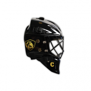 Goalie Helmet Stickers On Black Helmet