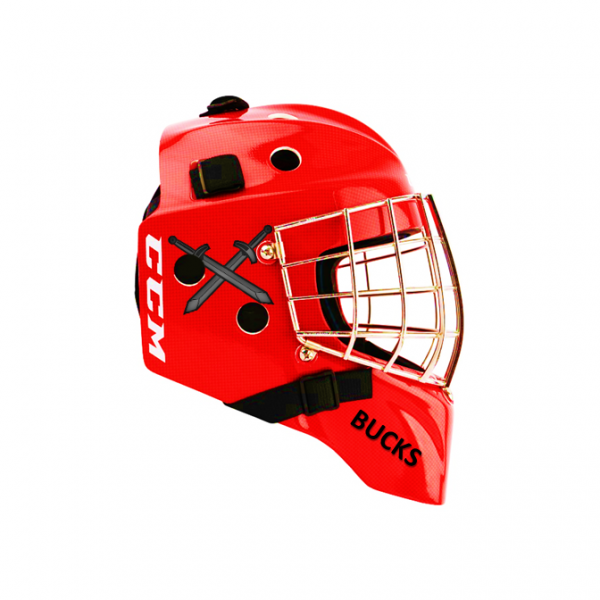Goalie Helmet Stickers On Red Helmet