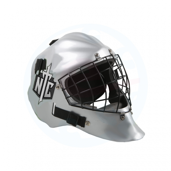 Goalie helmet Stickers On Silver Helmet