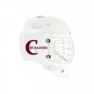 Goalie Helmet Stickers On White Helmet