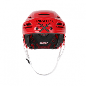 Hockey Helmet Stickers On Red Helmet