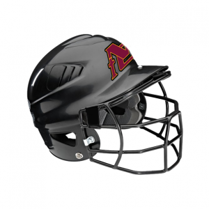 Softball Helmet Stickers On Silver Helmet